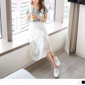 OB嚴選《DA4407-》素色優雅雕花蕾絲傘襬吊帶裙.2色--適 S~XL
