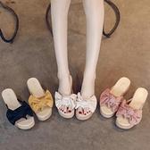 厚底拖鞋 涼拖鞋女士外穿涼鞋2021年新款時尚夏季鬆糕厚底增高跟坡跟人字拖