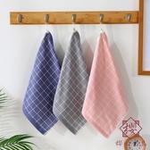 3條裝 吸水方塊面巾條紋毛巾英倫風正方形小毛巾家用【櫻田川島】