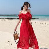 女神度假洋裝~夏日海風吹拂沙灘度假裙超仙露背一字肩雪紡吊帶連身裙PF460-A快時尚