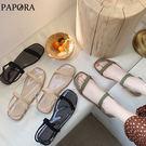PAPORA糖果色休閒涼鞋B448黑/杏/綠