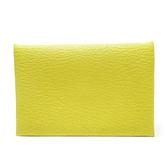 HERMES 愛馬仕 Lime 9R檸檬黃釦式對折名片夾 Calvi Card Holder 【BRAND OFF】