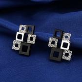 耳環 925純銀鑲鑽-獨特經典生日情人節禮物女耳針2色73gt62[時尚巴黎]