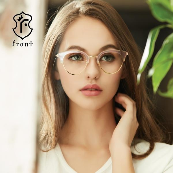 【Front 光學眼鏡】G3506-兩色可挑選(#復古造型眉框款光學眼鏡)