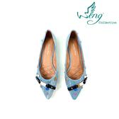 【WENG COLLECTION】Orbit Stone丹寧金屬扣飾尖頭平底鞋 淺藍