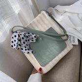 托特包  洋氣包包編織女包冬季新款流行單肩包大容量【免運直出】