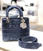 ■專櫃94折■ 全新真品■Dior 中款藍色 Dior Flowers 繡花牛仔布Lady D-Lite 2用包