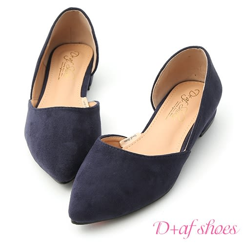 D+AF 典雅品味.素面絨料側挖空尖頭鞋*藍