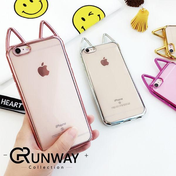 【R】韓國 電鍍 可愛貓咪 蘋果6s 手機殼 iPhone6splus 矽膠套 軟殼 i6全包 創意 透明