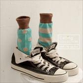 襪子糖果跳色條紋點點俏女孩中筒襪六色Calling 可妮