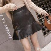 中大尺碼皮裙 秋冬魚尾裙a字裙半身裙pu皮裙包臀短裙荷葉邊 nm15273【歐爸生活館】
