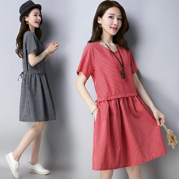 【GZ72】棉麻洋裝 韓版縮腰顯瘦寬鬆短袖連身裙 a字裙 亞麻中長版洋裝