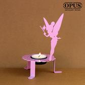 OPUS 歐式鐵藝精靈之光/香氛蠟燭燭檯(花仙子燭台_粉)