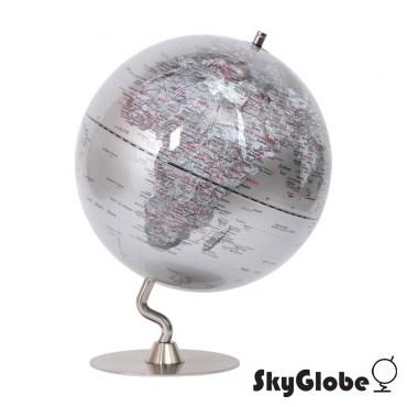 SkyGlobe12吋銀色時尚金屬底座地球儀(英文版)