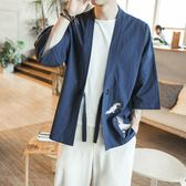 日式外套男和服開衫棉麻男士日系和風七分袖襯衫襯衣道袍潮