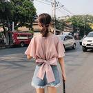 VK精品服飾 韓國風露背雪紡衫收腰短款蝴...