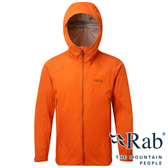【RAB 英國】男 KINETIC 單件式軟殼防水外套『爆竹橘』QWF75 雨衣│釣魚外套│夾克│慢跑路跑外套