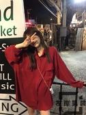 紅色襯衫 韓版寬松顯瘦口袋中長款雪紡襯衣女【左岸男裝】