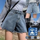 EASON SHOP(GW5772)實拍純棉丹寧毛邊抽鬚腰間雙鈕釦設計收腰牛仔褲女高腰短褲直筒褲寬褲休閒褲熱褲