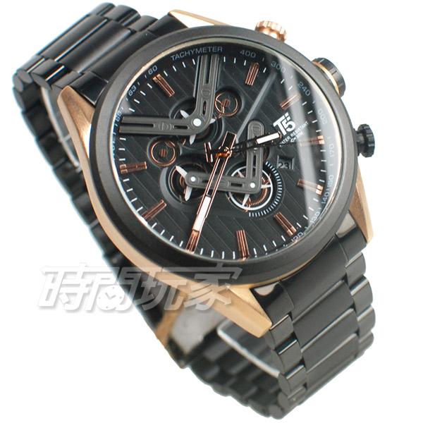T5 sports time 三眼計時碼表 賽車錶 雙V 潮男 學生錶 防水手錶 日期視窗 男錶 IP黑電鍍 H3628G玫黑