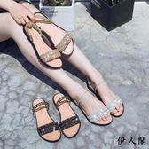 涼鞋女平底兩穿涼鞋女學生中跟鞋子女