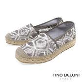 Tino Bellini 西班牙進口幾何藝術亮片刺繡麻編休閒鞋 _ 銀灰 A83016 歐洲進口款