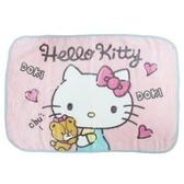 小禮堂 Hello Kitty 圓角毛毯披肩 單人毯 薄毯 蓋毯 70x100cm (粉綠 小熊) 4930972-50459