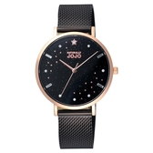 NATURALLY JOJO 星光熠熠時尚腕錶-玫瑰金X黑
