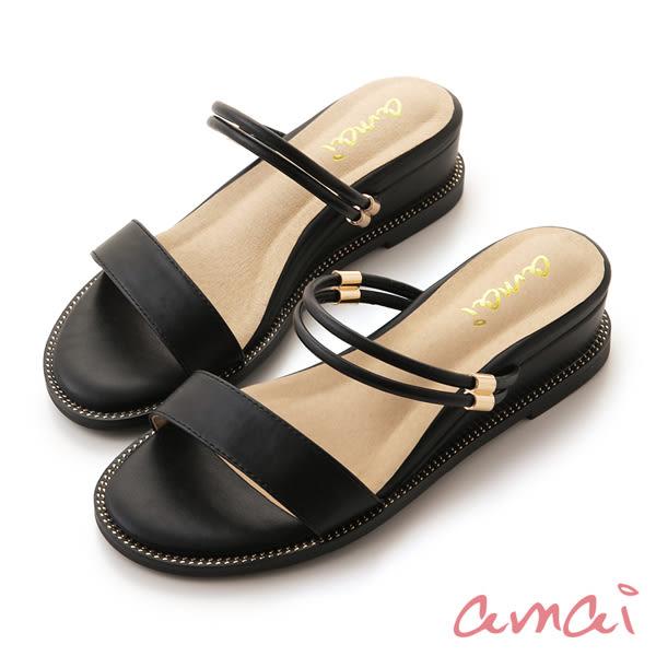 amai 2WAY小坡跟一字涼鞋 黑