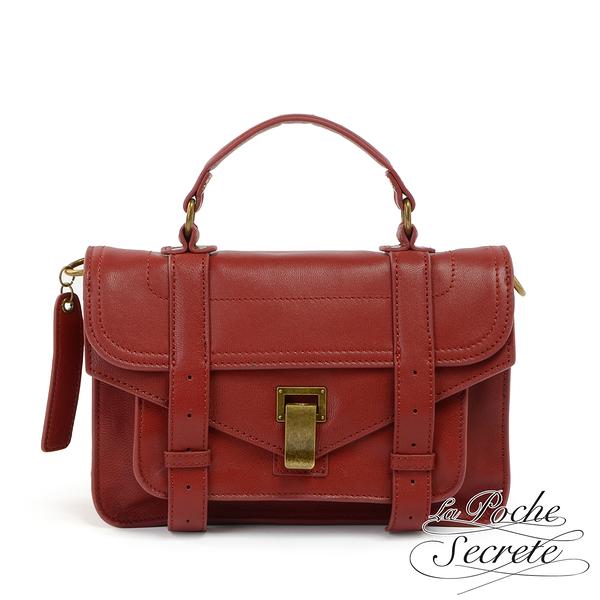 La Poche Secrete側背包 簡約羊皮仿舊金屬釦手提斜側背包-魅力紅 QH-1809