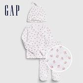 Gap嬰兒 棉質舒適印花家居服套裝帶帽子 571798-白色