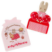 〔小禮堂〕兔媽媽 隨身造型鏡梳組《紅粉.站姿.花邊》透明袋裝.扁梳 4901610-82575