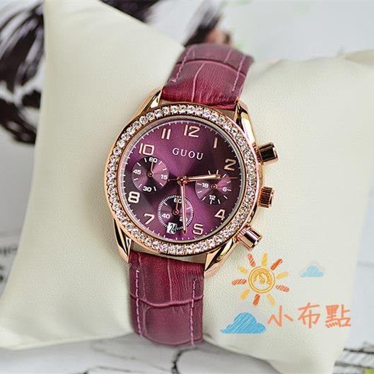 流行女錶香港古歐GUOU手錶女正韓日歷時尚潮流大錶盤真皮帶女錶奢華水?錶