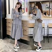 漂亮小媽咪 韓系 實拍 格子 洋裝 【D5216】格紋 長袖 長洋裝 V領長裙 連衣裙