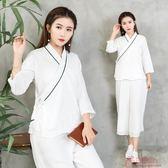 民族風棉麻女中國風文藝漢服交領七分袖上衣