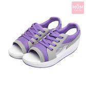 運動風網紗透氣設計款反絨皮搖搖涼鞋 紫 *MOM*