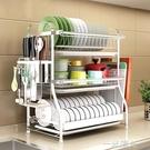 304不銹鋼碗架瀝水架晾放碗筷碗碟碗盤用品收納盒廚房置物架3層 WD一米陽光