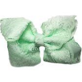 Cutie Bella 手工雙層蕾絲蝴蝶結髮夾 羅紋蕾絲緞帶 全包布 單個 Lace Bow-Mint