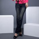 牛仔褲--纖長細直的最佳選擇-銀線金字亮片刷黃鬼爪痕中腰直筒牛仔褲(S-7L)-N25眼圈熊中大尺碼◎