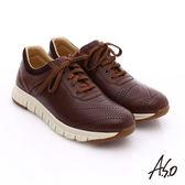 A.S.O 輕量抗震 真皮透氣輕量休閒鞋  咖啡