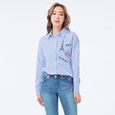 BigTrain BF落肩條紋繡花女襯衫-女-淺藍-B1501850