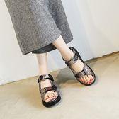 夏季銀色紅色韓版中跟搖搖鞋鐳射厚底魔術貼女鞋沙灘涼鞋  晴光小語