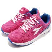 DIADORA 慢跑鞋 粉紅 藍 熱情嘉年華輕跑鞋 透氣網布 超輕量大底 運動鞋 女鞋【PUMP306 DA8AWR6022