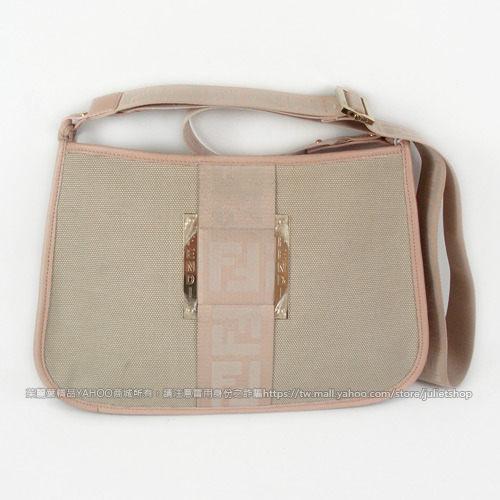 茱麗葉精品 二手精品【7成新】FENDI F LOGO 織布皮飾邊斜背包.粉邊米色
