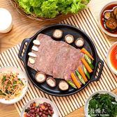 烤肉盤家用章魚燒烤盤圓形牛扒盤陶瓷韓式烤肉牛排烤盤 完美情人精品館