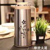 樂獅不銹鋼保溫壺家用熱水瓶按壓式熱水壺大容量玻璃內膽保溫水壺『摩登大道』