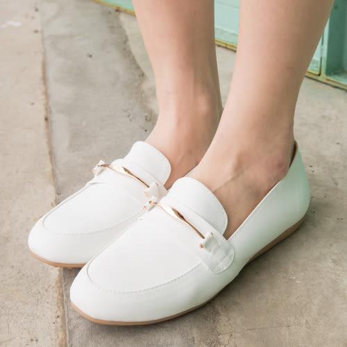 平底包鞋.MIT氣質百搭金屬環平底包鞋.白鳥麗子