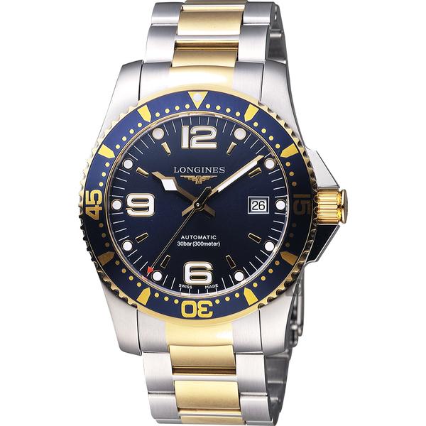 LONGINES浪琴 征服者300米64小時動力儲存潛水機械手錶-藍x雙色版/41mm L37423967