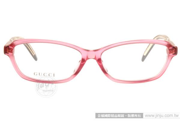 GUCCI 光學眼鏡 GG3669F 0WY (透粉) 魅力時尚立體轉節鏡腳系列 # 金橘眼鏡