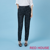 RED HOUSE-蕾赫斯-豹紋修身長褲(黑色)